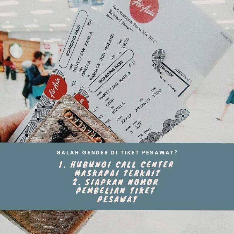 Cara Memperbaiki Salah Gender di Tiket Pesawat